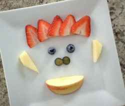 Fruit art face for picky eaters.