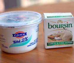 Fage yogurt with boursin cheese.