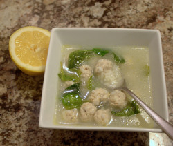 Greek meatball and rice soup (with lemon)