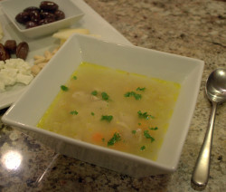 Greek chicken soup with kritharaki (orzo)